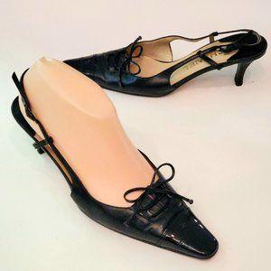 "Vtg Chanel CC Cap Toe Bow Slingback 2.5"" Heels 37"